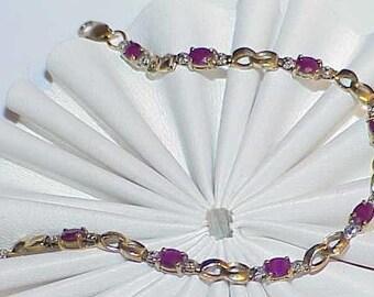 """10K 2.00ct 10 Oval Ruby 2 Diamond S Curve Bracelet Yellow Gold Vintage 7"""""""