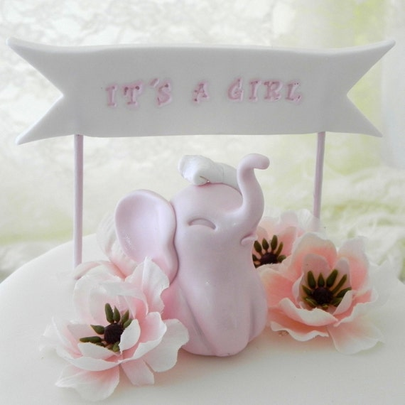 Items similar to baby shower cake topper pink baby girl for Baby footprints cake decoration