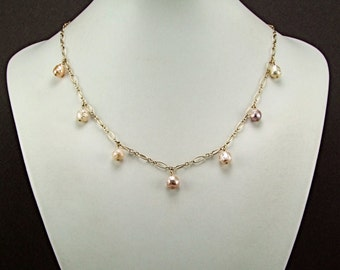 Rare Druzy Freshwater Pearl Gold Necklace - N58