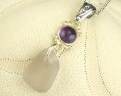 Sterling Silver Amethyst Sea Glass Pendant Radiant Orchid Beach Glass Necklace