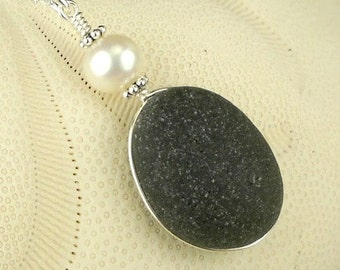GENUINE Black Sea Glass Necklace RARE Wire Wrapped In Sterling Silver With Pearl