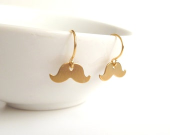 Gold Mustache Earrings - extra small brass handlebar moustache dangle - a simple little gold ear hook - minimal tiny facial hair gag gift