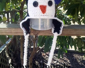 Super Cute Crochet Penguin earflap hat  - Made to ORDER