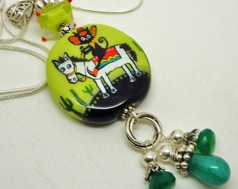 Lampwork and Gemstone pendant necklace PONCHO VILLA