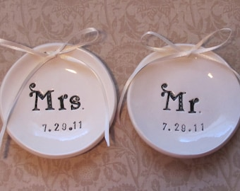 personalized Mr. and Mrs. ring dishes ring bearer dish