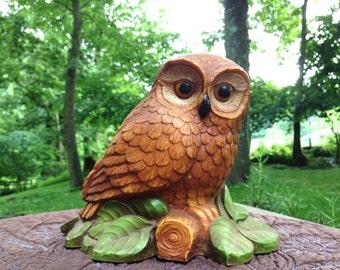 Vintage Resin Brown Owl on log with leaves.