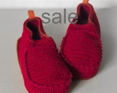 Sale - Slippers with Leather Sole in dark red and rust orange - above the ankle - US W 9-9 1/2 (EUR 40-41) - 15% off - Ready to Ship SALE