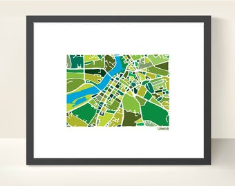 Limerick Ireland City Map - Original Illustration Print