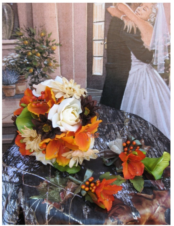 camouflage wedding flowers items similar to mossy oak wedding bouquet set orange 2420