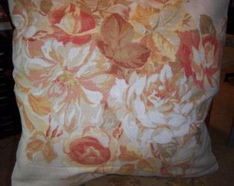 Accent Pillow Throw Pillow Decorative Mulberry Terracotta Arabella England Linen Cottonl Print Cover 24 x 24