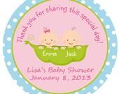 Twinn Pea in a pod Baby Shower Sticker --  twin sweet pea sticker favor tag, address label, custom sticker