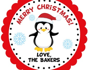 Penguin Christmas sticker, favor tag, baked goods, personalized sticker, holiday treats tag