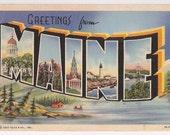 Vintage Maine Souvenir Postcard Large Letter Greetings Style Linen Postcard Curt Teich Series Postmarked 1942