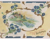 Antique Blue Floral Cottage Scene Postcard Message Dated 1911 Sunshine and Peace as Birthday Gift