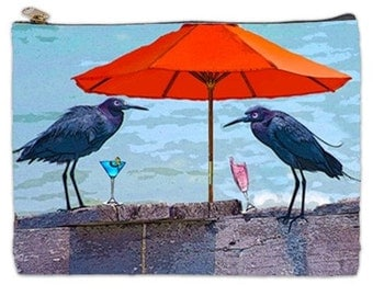 Cosmetic pouch with 2 birds, tropical makeup bag, cosmetic make up pouch, zippered pouch, NirvanaRoad, bags and purses, travel document bag