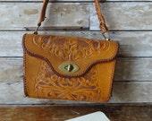 Vintage Hand Tooled leather Shoulder Purse Brown