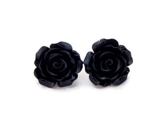 Large Black Rose Earrings - Big Fashion earrings - Rockabilly Large Flower Jewelry