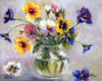 PANSIES  giclee of oil painting 8x10 by Alexandra Kopp