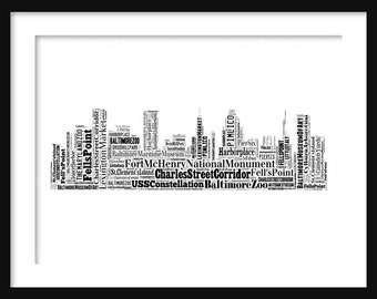 Baltimore Skyline Typography Print Poster Map