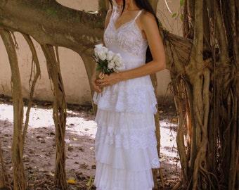 Sample Sale -Bridal Bohemian Lace Maxi Bridal Vintage Slip Wedding Dress Budget Bridal Reclaimed Romantic Bridesmaid Dress Made to Order