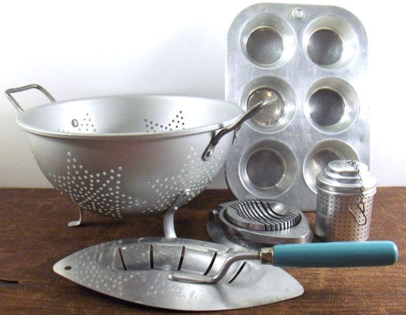 Vintage Aluminum Toy Kitchen Utensil Sets
