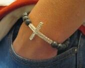 Mens Sanctity Bracelet, Spiritual Jewellery - Black Moonstone with Silver Rhinestones