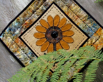 Sunflower Fabric Art Tile in Wool, Burlap and Cotton Table Runner Wallhanging or Candle Mat in Earth Tones