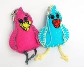 2 Felt birds Toy plush stuffed animal kawai cute Easter decoration keychain Blue Pink