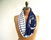 Penn State T Shirt Infinity Scarf / Gray Blue White / Eternity Scarf / Recycled / Upcycled / Fall / Cotton / Soft / Fun / tagt team