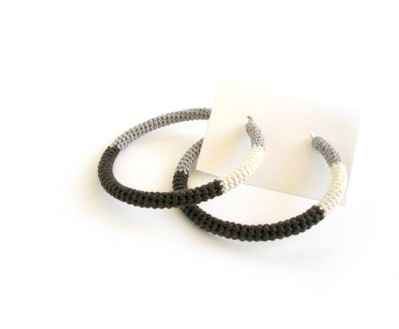 Hoop Style Crochet Tube Earrings - Grey Brown Cream Simple Chic Hoops