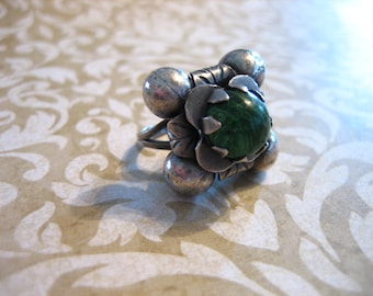 Antique Sterling Silver and Calcite Repousse Ring