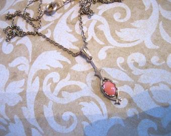 Vintage Gold Filled Coral Lavalier Necklace