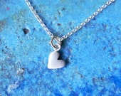 Tiny heart sterling silver necklace pendant - love - gift for her for teenager for girl -valentine jewelry - bridal jewelry