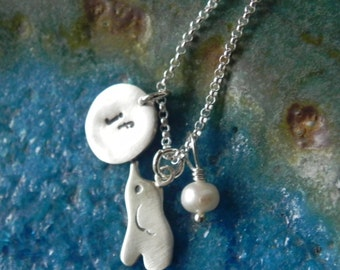 Personalized elephant sterling silver bracelet with disc and birth stone, baby shower gift