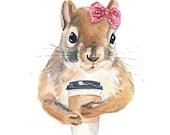 Red Squirrel Watercolor Print - Coffee Squirrel, Funny Watercolour, 8x10 Print