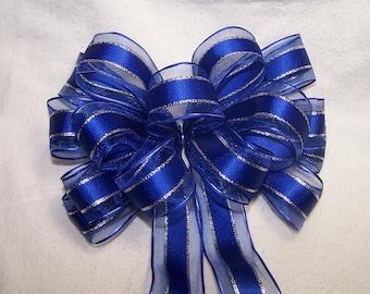 Royal Blue & Silver Bow Handmade Wreath Holiday Christmas Hanukkah New Years Decor Fun Gift Party Ribbon Wire Edge Wedding Pew Bow Glitter