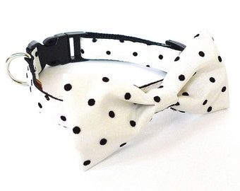 LAST ONE! 4 colors to choose from Dog Bow tie Collar Embroider Polka dot usagiteam cat collar with bowtie, made in san francisco