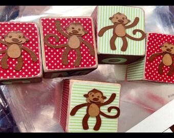 Personalized children gifts - Monkeys wood blocks - kids babys newborn gift unique gifts custom - photo props baby gift - nursery room decor