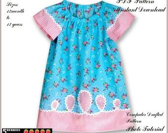 Prairie Girl PEASANT DRESS PATTERN + Free Mother-Daughter Apron Pattern, Girls Patterns Children Sewing Patterns pdf  toddler patterns