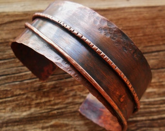 Copper Metal Work Mens Womens Cuff Bracelet