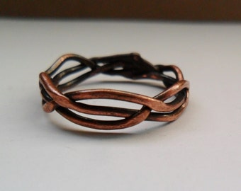 Braided Copper Ring, Mens or Womens Copper Ring, Woven Wire Copper Ring, Simple Copper Ring, Just your Size