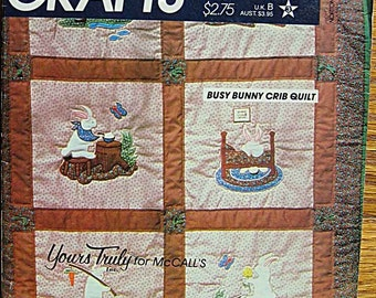 RARE Vintage 80's Busy Bunny Crib Applique Quilt by Yours Truly, McCalls 614 Sewing Pattern UNCUT