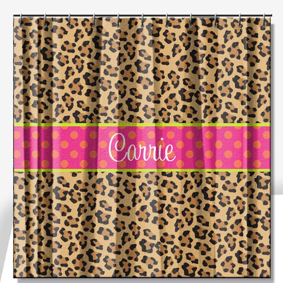 leopard print personalized shower curtain by limerikeedesigns