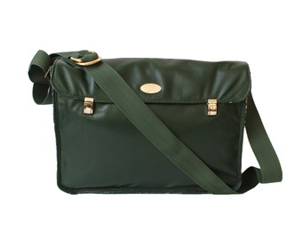 Large Hunter Green Genuine Leather Satchel. Cross Body Messenger Bag. Italian Leather Handbag. XL Miss Betty Satchel.