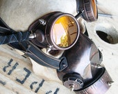 2 pc. set of COPPER/Rust-Look Distressed Steampunk Single Filter Respirator GAS MASK and Matching GOGGLEs with Spikes- Burning Man Must Have