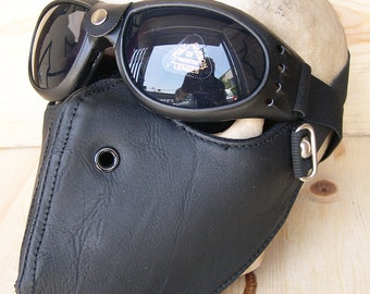 STEAMPUNK MASK - 2 pc. set of Black Faux Leather Steampunk Dust Riding Motorcycle Mask with Matching Steampunk Goggles - Burning Man Mask