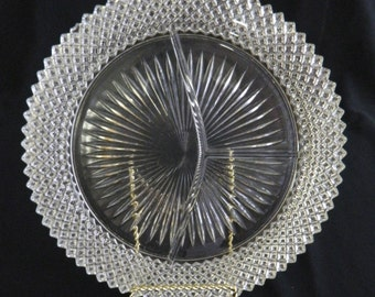 Vintage Miss American (Diamond Pattern) Grill Divided Plate by Hocking Glass 1935 -1938
