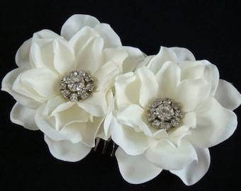 DOUBLE Gardenia Bridal Flower Hair Comb - Light Ivory - rhinestone flower hair comb