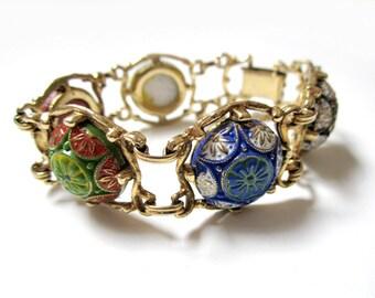Vintage Signed Celebrity Bracelet Blue Green Gold Red Black Mosaic Cabachons Designer Signed Bracelet Gift for Her Gift for Mom