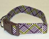 Plaid Adjustable Dog Collar- Made to Order/